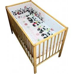 Lenjerie patut bebe cu 5 piese ursuletul panda,roz