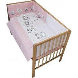 Lenjerie patut bebe cu 5 piese ursuletul pe semiluna roz