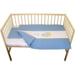 Lenjerie patut bebe cu broderie 3 piese albastru.