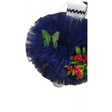 Lumanare de botez bleumarin, cu ornamente florale, hug 100