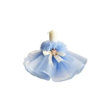 Lumanare de botez dantelata, bleu deschis, 28 cm