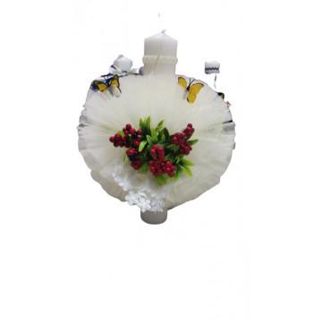 Lumanare de botez ivoirecu trandafiri, cu ornamente florale, hug 104, en gross