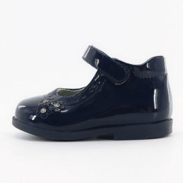 Pantofi fete,negru cu floricele