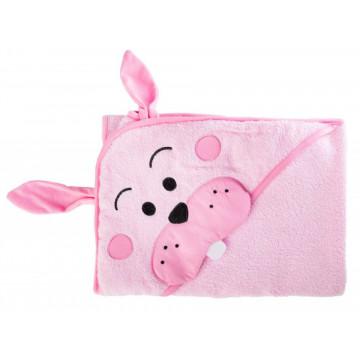 Prosop cu gluga brodata Water Friends Pink 100x100 cm