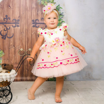 Rochita eleganta , cu broderie florala Malvina, 3 luni-4 ani, roz pal