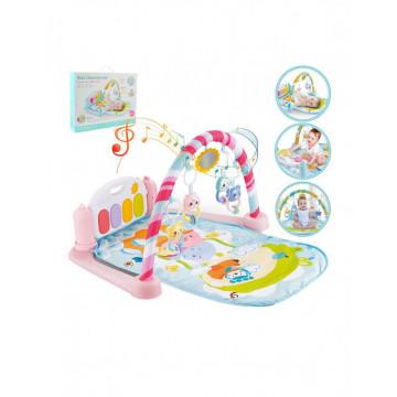 Saltea interactiva pentru gimnastica bebelusilor cu pian, roz