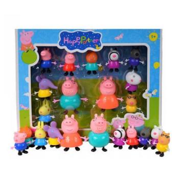 Set 11 figurine Peppa Pig , in cutie, membre mobile, cap moale
