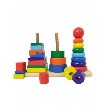 Set 3 turnuri Montessori Rainbow cu Forme geometrice