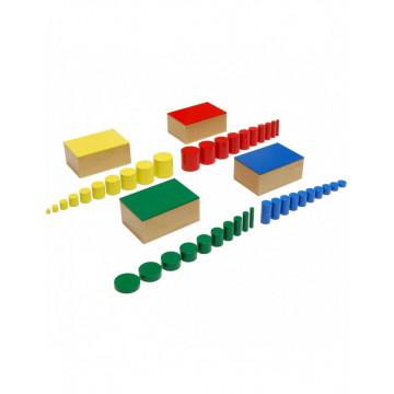 Set 4 cutii Cilindri din lemn Montessori