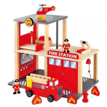 Set Statie Pompieri cu Masinuta si Elicopter