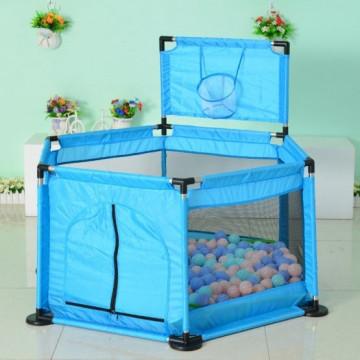 Tarc de joaca bebe cu bile colorate si cos de baschet,albastru