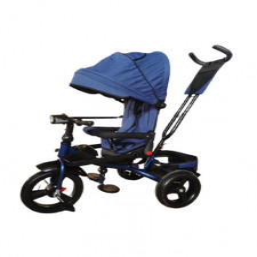 Tricicleta 5099EVA cu pozitie de somn, scaun reversibil, far cu lumini si muzica, bleumarin