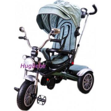 Tricicleta copii scaun rabatabil 5199,muzica,roti cauciuc,verde