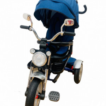 Tricicleta cu far luminos si sunete, Maner reversibil, 4499 - Albastru