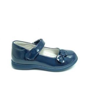 Pantofi ortopedici, interior piele, lacuiti, bleumarin