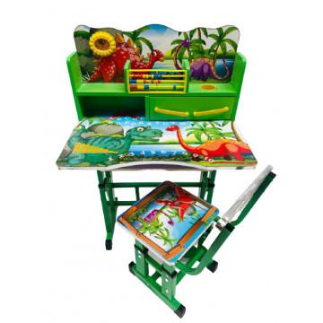 Birou cu scaun pentru copii, reglabile, cadru metalic si lemn,dinozauri