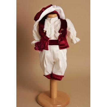 Costum Micul Marchiz – burgundy, pantalon 3/4, 4 piese