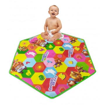Covoras din spuma pentru copii cu doua fete Hexagon.