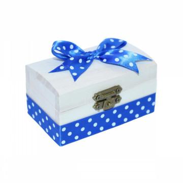 Cutiuta din lemn pentru suvita sau amintiri, albastru cu buline