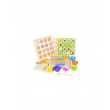 Joc Montessori din lemn 2 in 1 Memo si de logica si asociere Asian