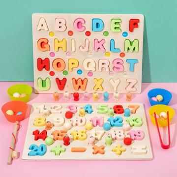 Joc puzzle Montessori Alfabet sau Numere