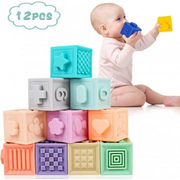 Jucarie Cuburi moi pentru bebe Squeeze Stack KAICHI