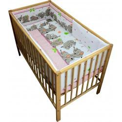 Lenjerie patut bebe cu 5 piese elefantii veseli roz