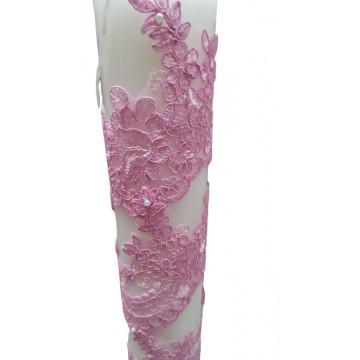 Lumanare dantela roz