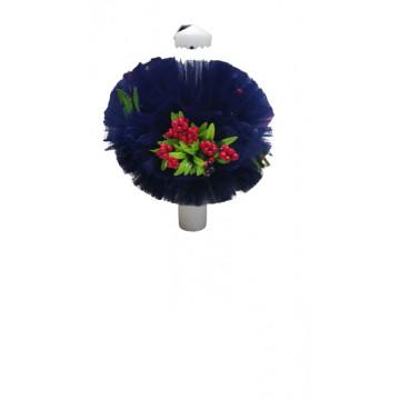 Lumanare de botez bleumarin, cu ornamente florale, hug 100, en gross