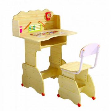 Set birou si scaunel pentru copii, culoare natur, calitate superioara