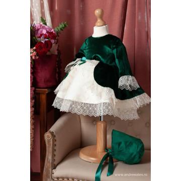 Set rochita de botez Yvette, 2 piese, verde regal