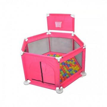Tarc de joaca bebe cu bile colorate si cos de baschet,roz