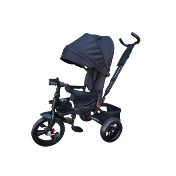 Tricicleta 5099EVA cu pozitie de somn, scaun reversibil, far cu lumini si muzica, negru