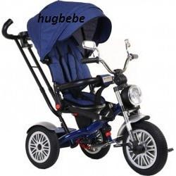 Tricicleta copii scaun rabatabil 5199,muzica,roti cauciuc,albastru