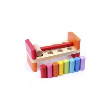 Banc din lemn cu sortator de tije colorate si ciocanel
