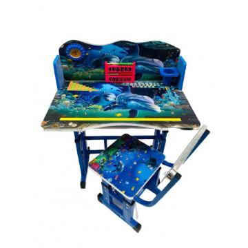 Birou cu scaun pentru copii, reglabile, cadru metalic si lemn,ocean