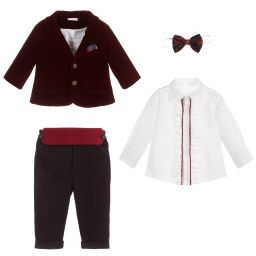 Costum pentru botez, Ralph, burgundy, 3 luni-4 ani