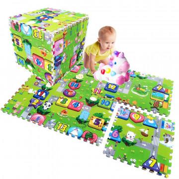 Covoras puzzle de joaca bebe Trafic si Cifre