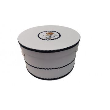 Cutie trusou pentru botez,rotunda,alb-bleumarin,ingeras
