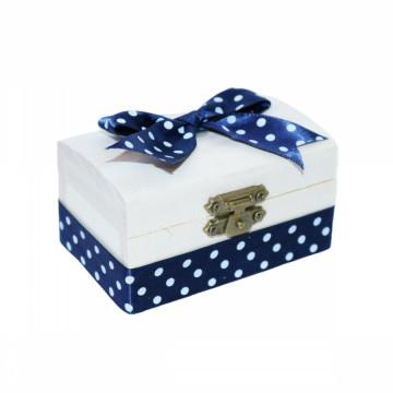 Cutiuta din lemn pentru suvita sau amintiri, bleumarin buline