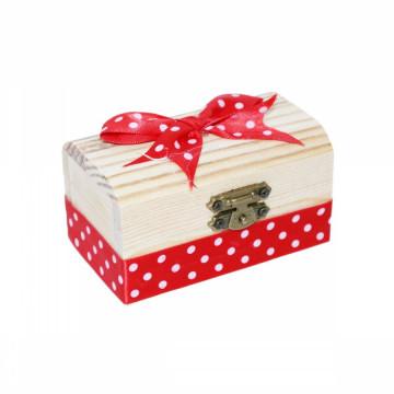 Cutiuta din lemn pentru suvita sau amintiri, rosu buline
