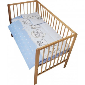 Lenjerie patut bebe cu 3 piese ursuletul pe semiluna albastru