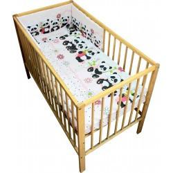 Lenjerie patut bebe cu 4 piese ursuletul panda roz