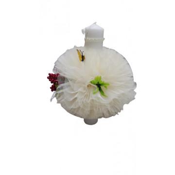 Lumanare de botez ivoirecu trandafiri, cu ornamente florale, hug 104