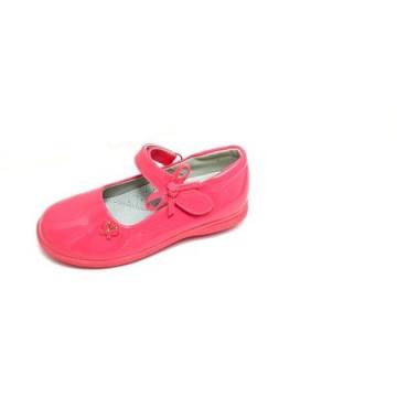 Pantofi ortopedici, interior piele, lacuiti, roz somon, 26-30