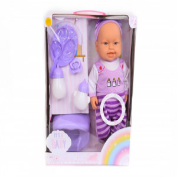 Papusa bebelus cu bentita si accesorii, 30 cm,vorbeste in limba romana, roz