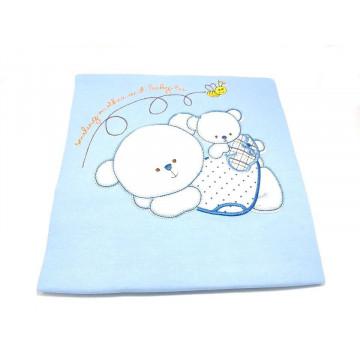 Paturica bumbac, bleu, bebelusi, 90x100 cm, brodata