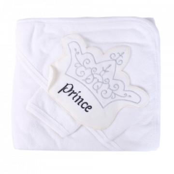 Prosop bebe, cu manusa, material bumbac, brodat Prince, alb, 96*96 cm