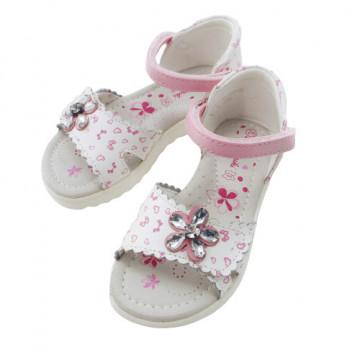Sandale din piele pentru fete, cu barete reglabile, roz/alb