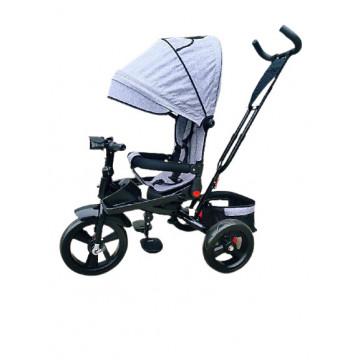 Tricicleta 5099EVA cu pozitie de somn, scaun reversibil, far cu lumini si muzica, gri